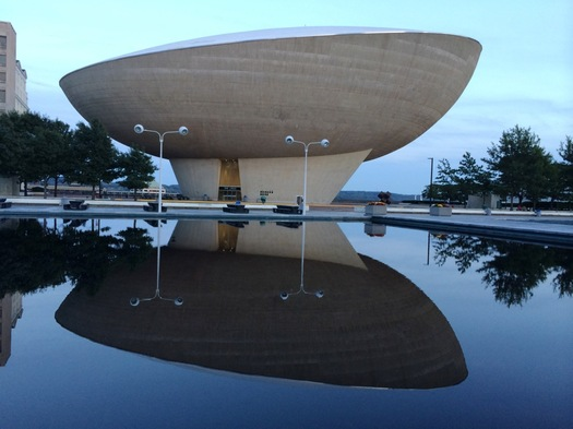 The Egg reflected in ESP pool