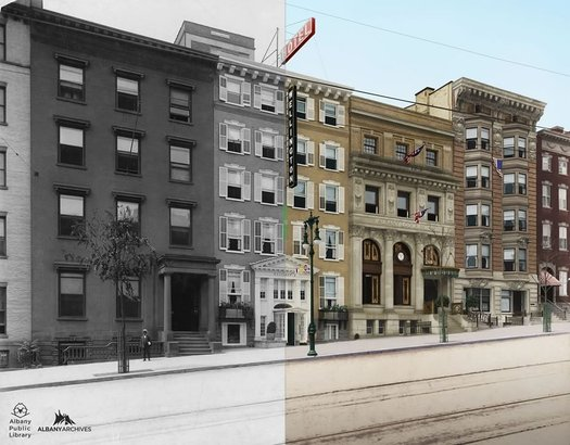 Albany Archives Wellington Row colorized split BW