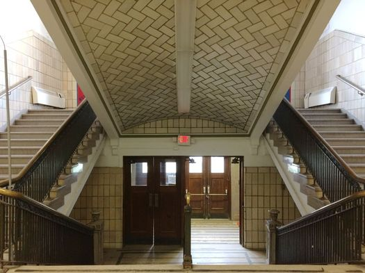 old Albany High School building stairway