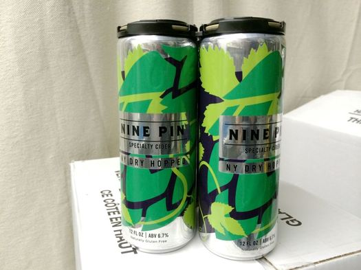 nine pin labeled cans dry-hopped cider