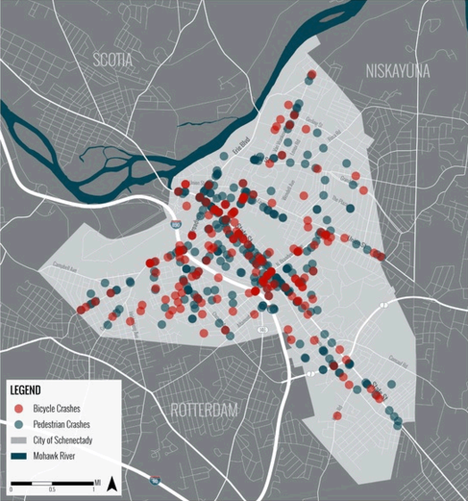 schenectady bike plan crash map