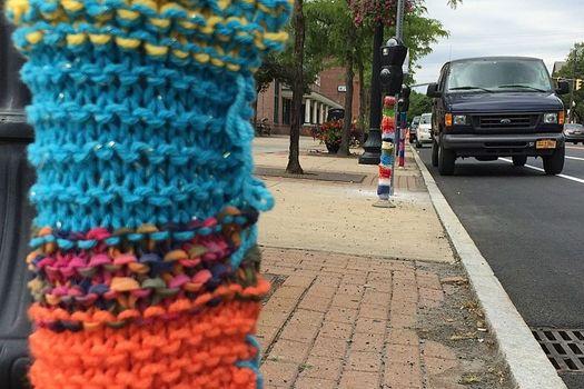 Madison Ave parking meters yarn