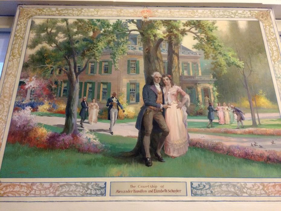 Milne Hall mural of Schuyler Hamiltom courtship by DC Lithgow