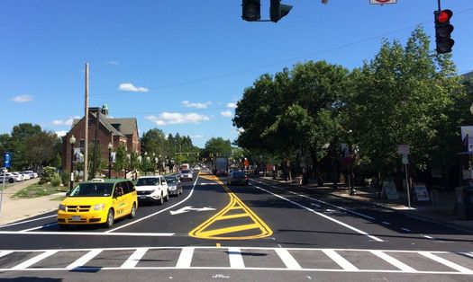 Madison Ave road diet striping