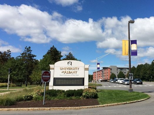 UAlbany sign, Aspen in background