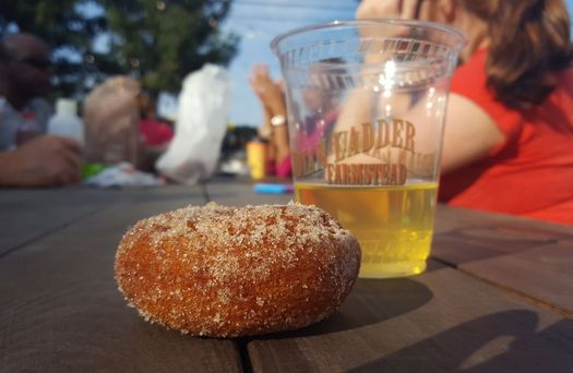 Indian Ladder Farms cider donut and beer cup