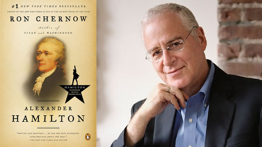 Ron Chernow with Hamilton book cover