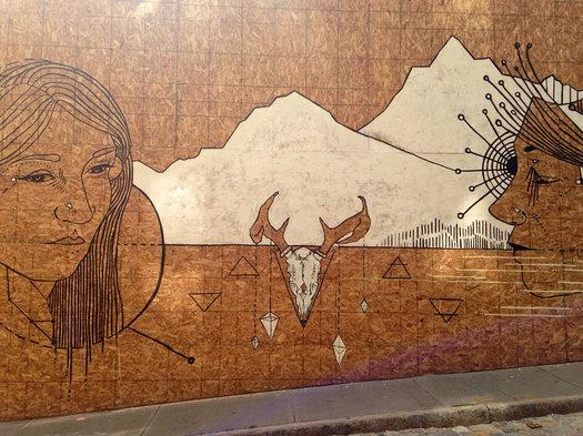 temporary facade mural 27 N Pearl by Rachel Baxter