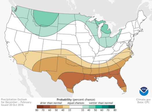 NOAA Precipitation Outlook Winter 2016