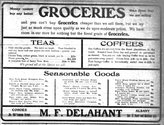 Delahant Groceries ad 1903 via Carl