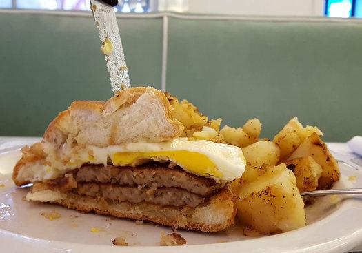 gibby's diner breakfast sandwich cross section
