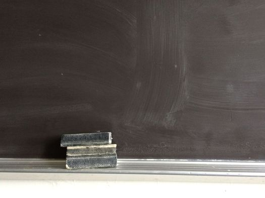 erasers on chalkboard