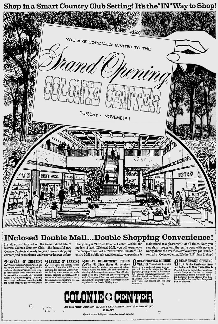 Colonie Center grand opening ad 1966 Schenectady Gazette