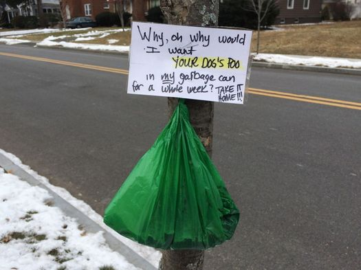 Euclid Ave dog poop note
