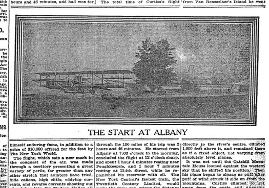 NYT 1910-05-30 Glenn Curtiss Albany flight