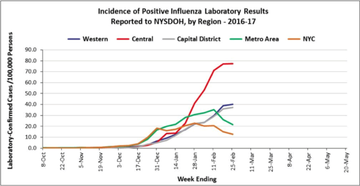 NYS flu incidence graph 2017-February-25