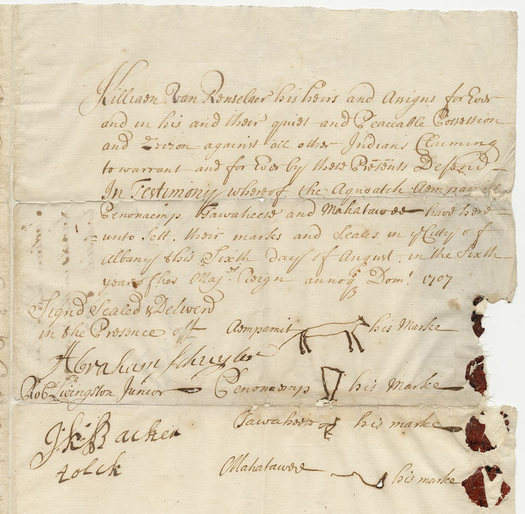 Rensselaerwyck Native American deed 1708
