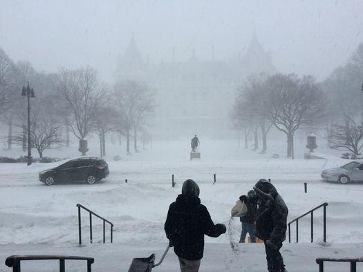 Albany blizzard state Capitol shoveling Smith Building steps