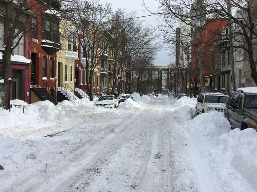 day after 2017 March blizzard Hudson Ave