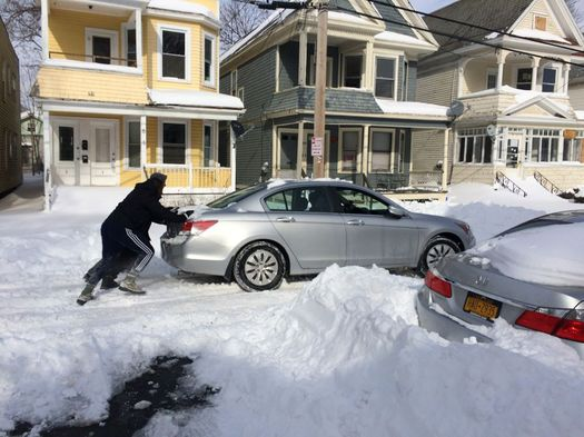 day after 2017 March blizzard Myrtle Ave car push