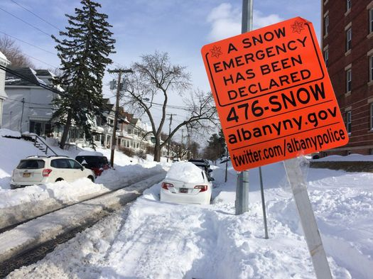 day after 2017 March blizzard Myrtle Ave snow emergency sign
