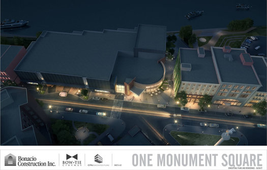 Bow Tie Monument Square rendering overhead