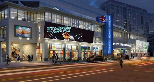 TU Center atrium renovation rendering exterior night cropped