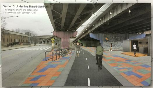 Albany waterfront connector route plan under 787 rendering