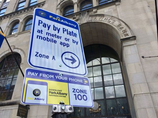 Albany parking by mobile sign