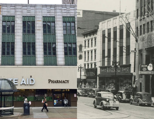 North Pearl Street Rite Aid building historical comparison