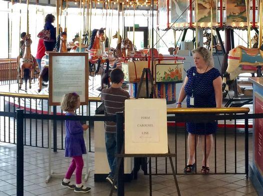 State Museum Carousel Ann Winnicki kids in line