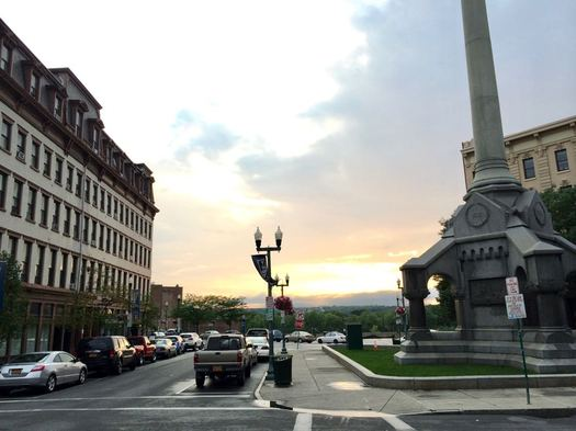 Troy Monument Square Broadway and River 2015-June