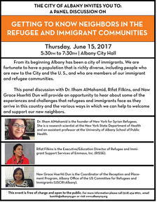 albany city hall helping refugees panel poster