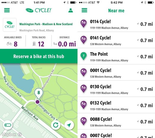 CDTA bike share app screenshots