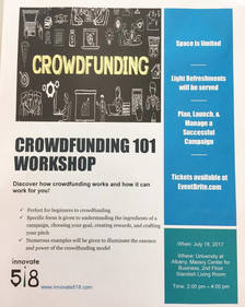 Innovate518 crowdfunding workshop poster