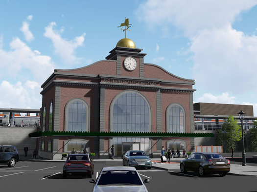Schenectady train station design rendering