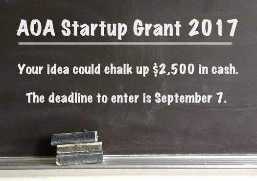 AOA Startup Grant 2017 announce billboard