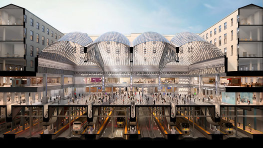 Moynihan Train Hall rendering cross section