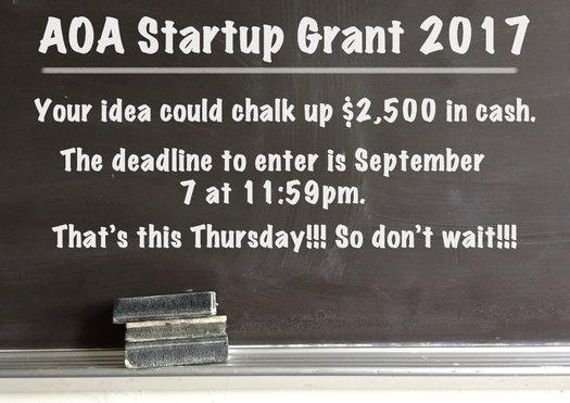 AOA Startup Grant 2017 announce billboard update