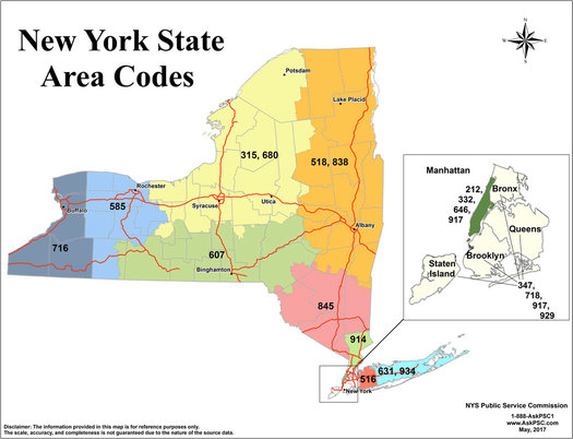 New York State area code map 2017