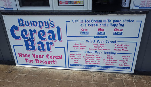 bumpys polar freeze cereal sundae menu