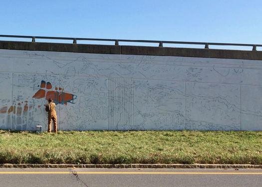 Capital Walls murals 2017 October in progress Baxter