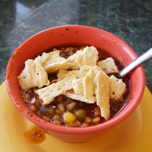 Chuck Wagon Diner beef soup closeup