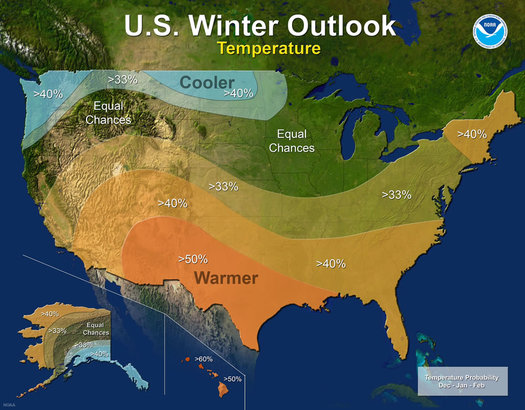 NOAA winter outlook 2017-2018 temperature