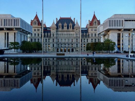 New York State Capitol with reflection