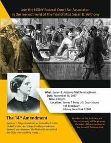 Susan B Anthony trial re-enactment poster