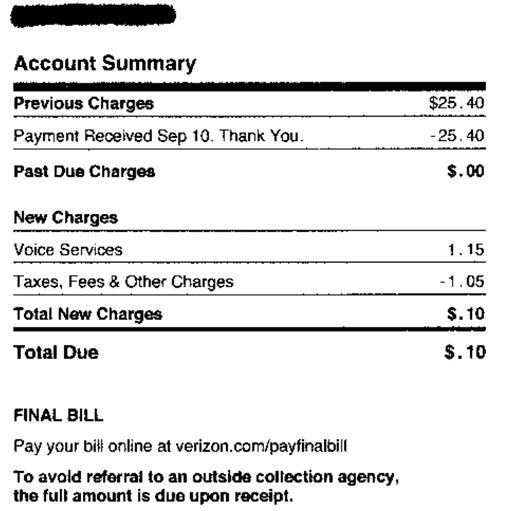 10 cent phone bill large