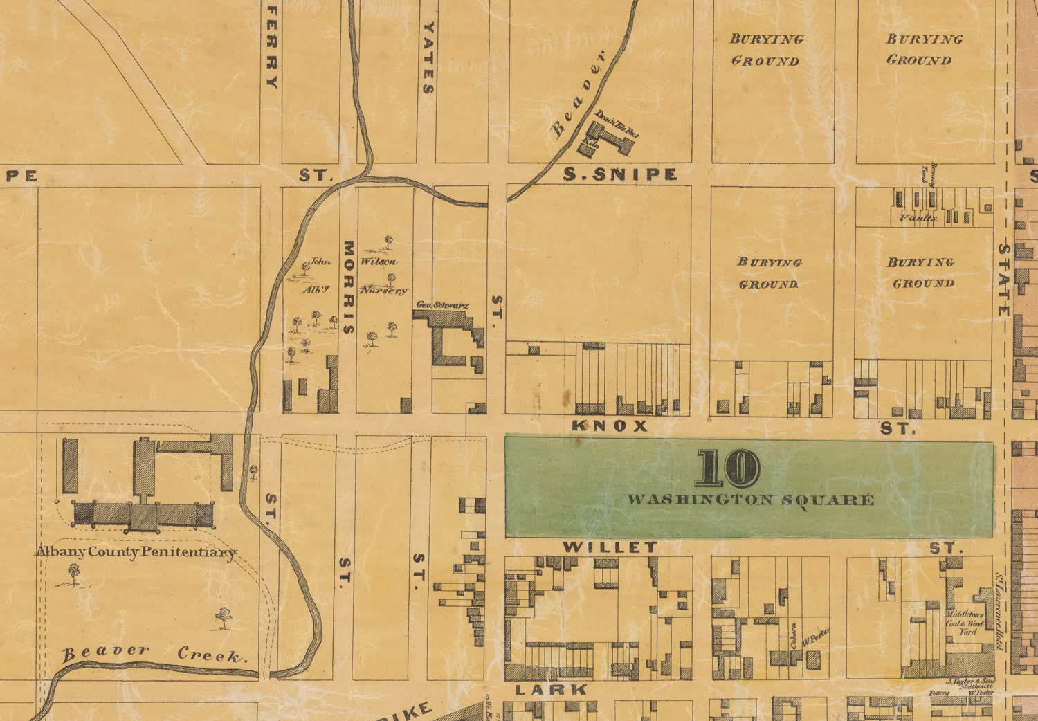 1857 Jacob map of Albany Park South Wilsons Nursery clip