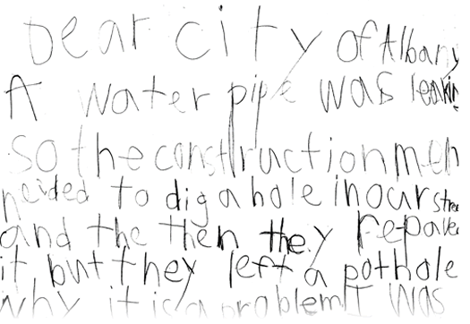 7-year-old Albany resident pothole letter cropped