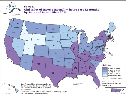 ACS2013 state gini indexes map